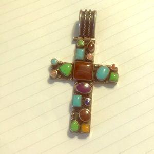 Jewelry - Beautiful sterling silver gemstone cross crucifix